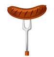 fried sausage on the fork for vector image