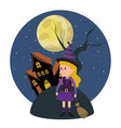 girl with witch costume and horror castle vector image
