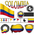 glossy icons with flag of colombia vector image