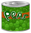green peas in aluminum can vector image vector image