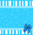 greeting card with blue bow lace and copy space vector image