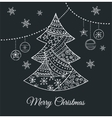 hand drawn black christmas tree with doodles vector image