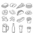 hand drawn icons for street cafe vector image vector image