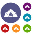 hiking and camping tent icons set vector image vector image