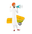 hindu farmer talking into loudspeaker vector image vector image