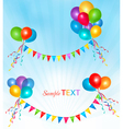 holiday background with balloons and colorful vector image vector image
