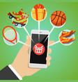 human hand smart phone shop basket goods icon vector image vector image