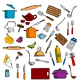 Kitchen utensils and kitchenware icons vector image vector image