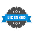 licensed blue label isolated seal vector image vector image