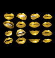 Lips gold set Design glitter element vector image