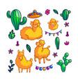 llamas characters color set vector image vector image
