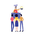 male chef cooking food in front people flat vector image vector image