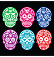 mexican sugar skull icons set colour black bg vector image vector image
