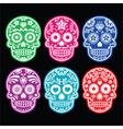 mexican sugar skull icons set colour black bg vector image