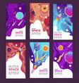 outer space and universe covers with planets and vector image