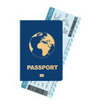 passport and boarding pass airline passenger vector image vector image