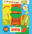 picnic poster cartoon summer weekend background vector image