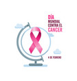pink cancer ribbon with spanish text and globe vector image vector image