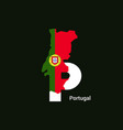 portugal initial letter country with map and flag vector image