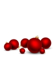 red christmas balls on white background vector image vector image