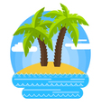 sandy beach and palm trees vector image vector image