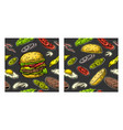 seamless pattern burger and ingredients include vector image vector image