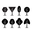set of icons of trees vector image