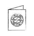 sketch draw passport cartoon vector image vector image