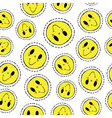 Smiley face retro patch icon seamless pattern vector image vector image