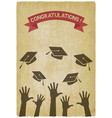 students throw graduation caps vector image vector image