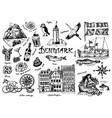 symbols denmark in vintage style retro sketch vector image