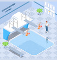 synchronized diving isometric composition vector image vector image