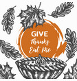 thanksgiving day background hand drawn vector image vector image