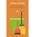 Web Banner Bucket Duster Broom and Dustpan Icon vector image vector image