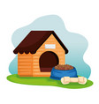 Wooden dog house with food dish and bone