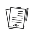 contract signing documents line icon sign vector image
