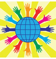 hands and world globe vector image