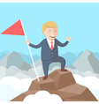 Happy successful businessman with flag in his hand vector image