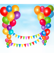 background with colorful ballons and bunting flags vector image