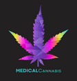 3d look abstract medical cannabis leaf vector image