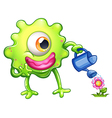 A green monster watering the plant vector image vector image