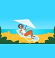 african american girl in white swimsuit sunbathing vector image
