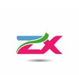 Alphabet Z and X letter logo vector image vector image