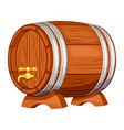 Beer wooden barrel on white background