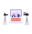 breaking news tv studio mass media characters vector image vector image