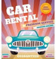 Car rental retro poster vector image vector image