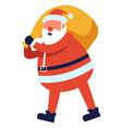 christmas holiday character santa bag of gifts vector image