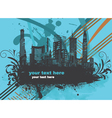 city with grunge and floral vector image vector image
