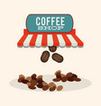 coffee shop bean dish fresh vector image vector image