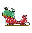 colorful crayon silhouette of santa claus sleigh vector image
